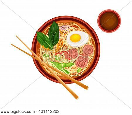 Asian Savoury Soup With Noodles And Bacon In Bowl With Chopsticks Above View Vector Illustration