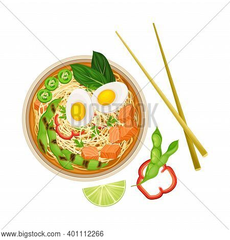 Thick Broth With Seafood, Boiled Egg And Noodles As Asian Savoury Soup Served In Bowl With Chopstick