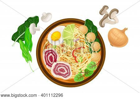 Broth Or Soup With Noodles And Meatballs As Asian Savoury Soup Served In Bowl Above View Vector Illu