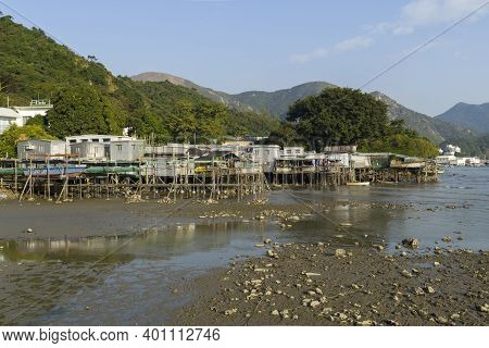 Hong Kong - December 2020 : Tai O Village, Tai O Stilt Houses, A Fishing Town In Lantau Island. Eye