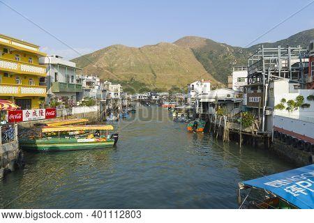 Hong Kong - December 2020 : Tai O Village, Tai O Stilt Houses, A Fishing Village In Lantau Island. E