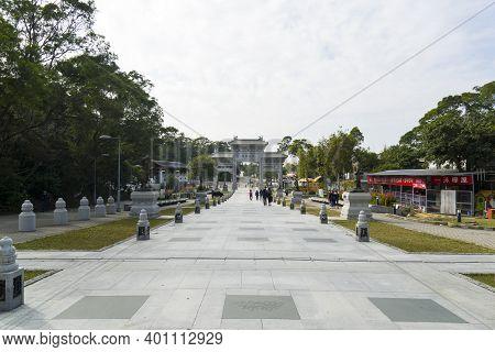 Hong Kong November 2020 : Ngong Ping Piazza And Bodhi Path , Ngong Ping. The Piazza Links Up Po Lin