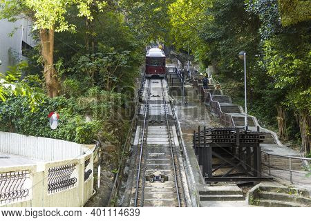 Hong Kong November 2020 : The Peak Tram, A Funicular Railway And Landmark Of Hong Kong, Long Shot