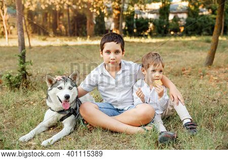 Family Playing With Dog In Park. Owner Walks With A Dog. Children Caressing Dog Outdoors. Children A