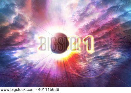 Full Solar Eclipse, Astronomical Phenomenon - Full Sun Eclipse. The Moon Covering The Sun In A Parti