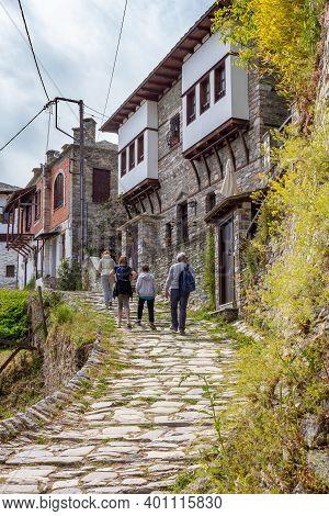 Makrinitsa, Greece - May 03, 2019: Tourists Walking In The Street In Makrinitsa Village Of Pelion, G