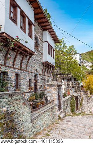 Traditional Old Houses In Makrinitsa Village Of Pelion, Greece