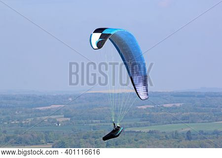 Paraglider Flying Wing At Combe Gibbet, England