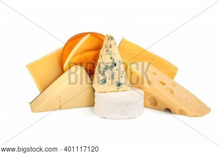 Various Types Of Cheese Isolated On White Background. Blue Cheese Dorblu, Smoked Suluguni, Brie, Maa