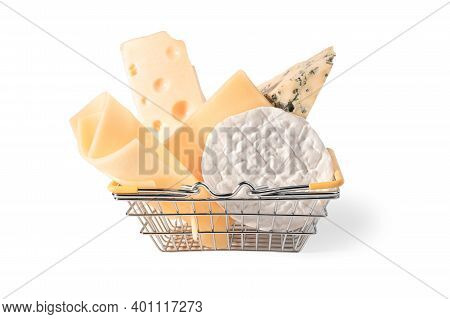 Grocery Basket With Cheese. Many Different Cheeses In The Shopping Basket. Pieces Cheese Different V