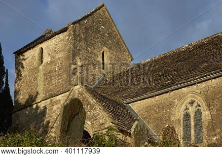 Historic Church In The Small Hamlet Of Langridge In The Cotswolds Near Bath, Somerset, United Kingdo