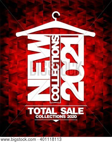 New collections 2021 fashion advertising poster design, total sale collections 2020, raster version