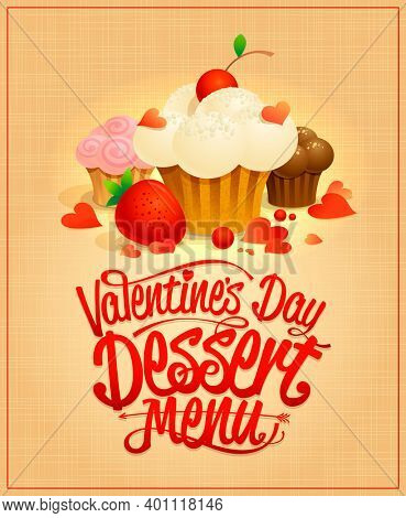 Valentine's day dessert menu design with gourmet pastries, raster version