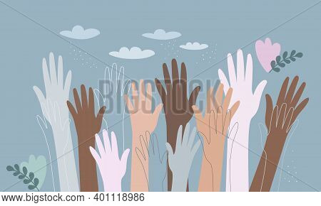 Hands Of People With Different Colors Of Skin, Holding The Planet Earth. Concept Of Protection Of Pe