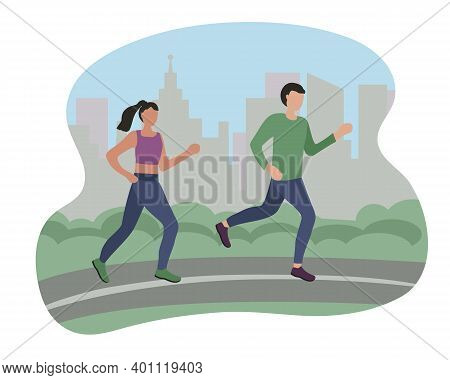 Man And Woman Running In The City. Sports Training On The Street. Runners On The Move. Marathon And