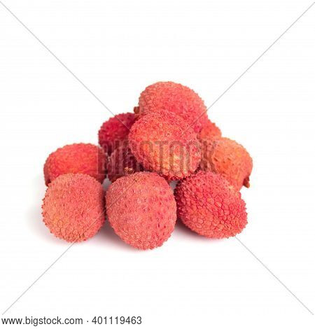 Tropical Fruits Lychee Or Litchi Isolated On White Background. Selective Focus