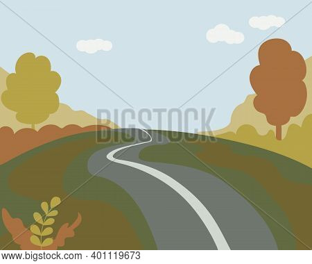 Forest Landscape Of A Winter Forest Or Park. Hills With Trees, Road In Snow. Blue Sky With Clouds, S