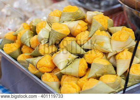 Close Up Thai Toddy Palm Cake Sweet (thai Traditional Dessert)