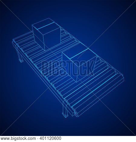 Conveyor Belt Section With Boxes