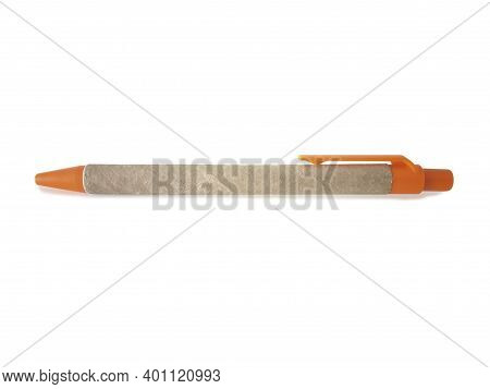 Recycled, Biodegradable Cardboard Pen With Push Button And Orange Clip Isolated On White Background.