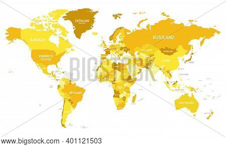 Political World Map Vector Illustration With Different Tones Of Yellow For Each Country And Country