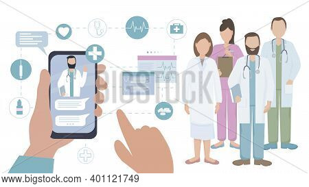 The Patient Communicates With The Doctor Online. A Team Of Medical Professionals Consults, Diagnoses