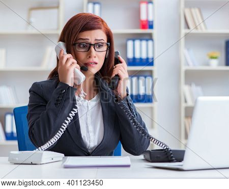 Frustrated call center assistant responding to calls