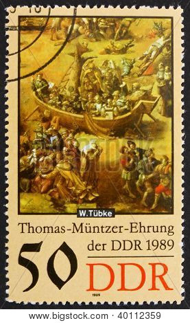 Postage Stamp Gdr 1989 Ark, Detail Of The Painting By Werner Tub