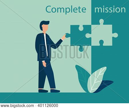 Business Concept Of Mission Completion, Successful Completion Of A Job Or Project. The Person Sets T