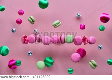 Levitation Of Macaroons, Creative Food Concept. Bold Vibrant Pink, Mint Green And Magenta Colors. Fl