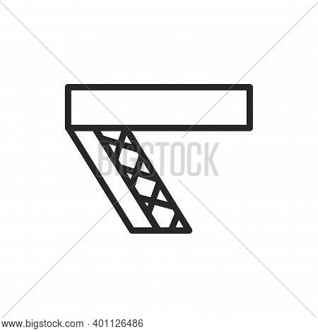 View Open Attic Doors Color Line Icon. Isolated Vector Element.
