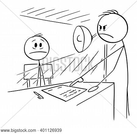 Vector Cartoon Stick Figure Illustration Of Man Sitting In Interrogating Room Forced To Sign Contact