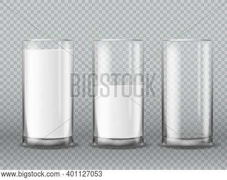 Milk Glass. Realistic Empty And Full Milk Glasses, Cup With White Liquid Yogurt Or Kefir, Morning Da