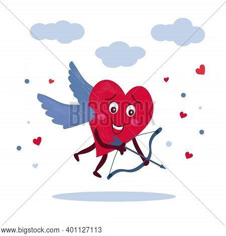 Amorous Character. Red Heart With Wings In The Sky, Releases The Arrow Of Love. Vector Romantic Illu