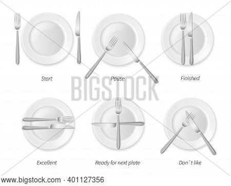 Dining Etiquette. White Porcelain Plates With Silverware, Restaurant And Cafes Rules, Top View Cutle