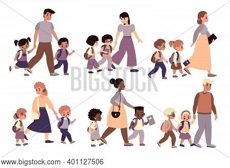 Parents With Children Walk Set. Moms And Dads Hold Hands And Accompany Kids To School, Pupils With A