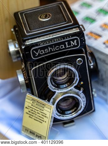 August 18, 2018 Moscow, Russia. Medium Format Film Camera Yashica Lm On A Store Counter.