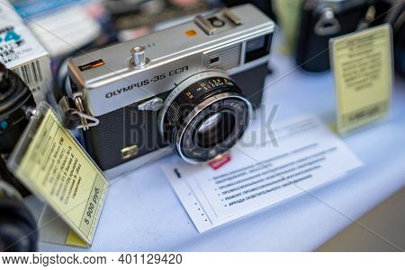 August 18, 2018 Moscow, Russia. Rangefinder Camera Olympus 35 Ecr On A Shop Counter.