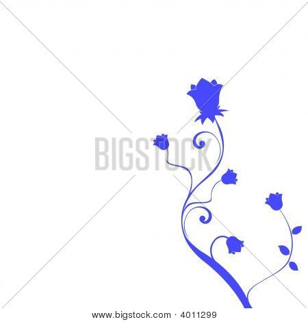 Deep Blue Floral Illustration