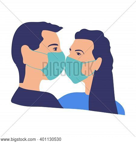 A Couple In Love, A Man And A Woman Wearing A Medical Respiratory Mask For The Face. Protection Agai