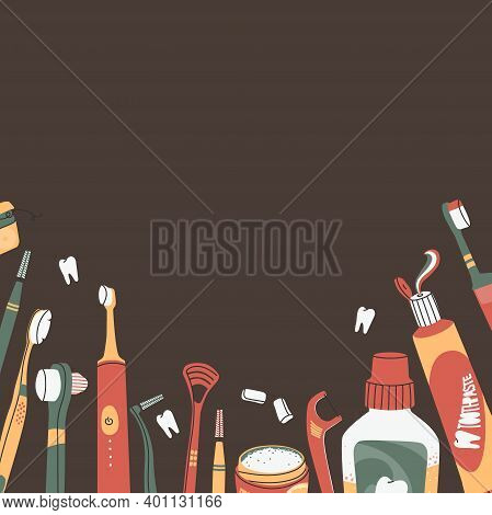Vector Background With Copy Space, Oral And Dental Care Concept. Various Toothbrushes, Toothpaste, T