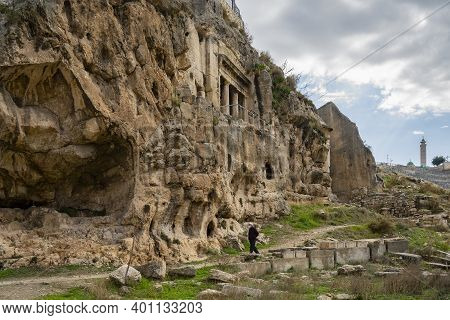 Jerusalem, Israel - December 17th, 2020: Ancient Tombs And Burial Caves Around The Tomb Of The Sons