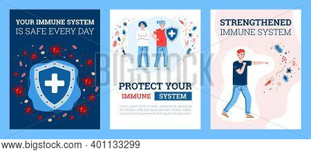 Set Of Card Or Posters Of Immune System Defence Concept With Cartoon Characters, Flat Vector Illustr