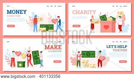 Charity And Volunteering Concept. People Donate Money For Help Poor. Volunteers Collect Coin And Ban