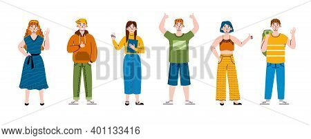 Positive People Gesturing Ok Signs. A Characters Expression Happy Emotions, Approval And Agreement U