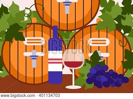 Wine Making Concept Poster. Wooden Barrels, Grape, Bottle And Wineglass With Red Wine. Production Tr