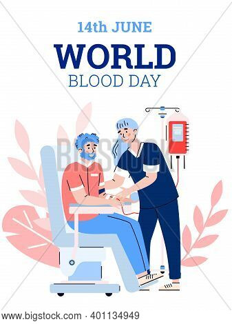 World Blood Day Banner Or Placard Design With Scene Of Blood Donation, Flat Cartoon Vector Illustrat