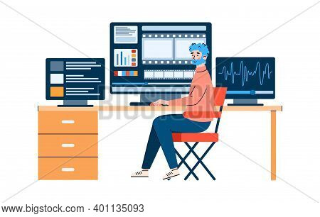 Movie Operator Works On The Studio Equipment For Film Editing And Sound Recording, Flat Cartoon Vect