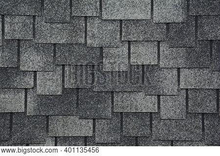 Asphalt Shingles Textured Background Photo. Grey Roof Shingles Background.
