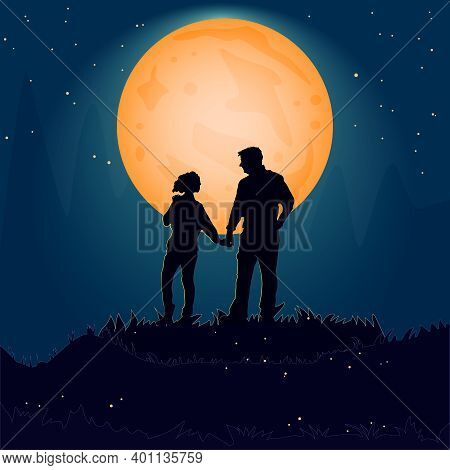 Silhouette Couple Man And Woman Holding Hand Together On Hill Under Moonlight. Valentines Day. Happy